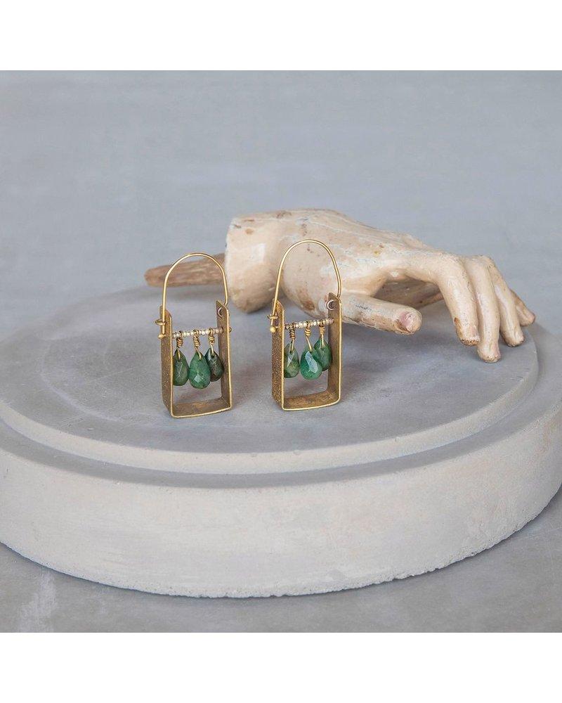 OraTen Boxed Gem Brass Earrings-African Jade
