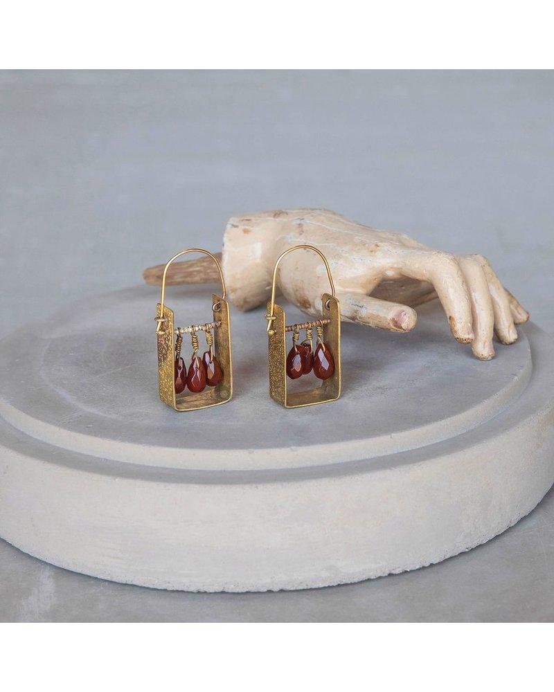 OraTen Boxed Gem Brass Earrings-Carnelian