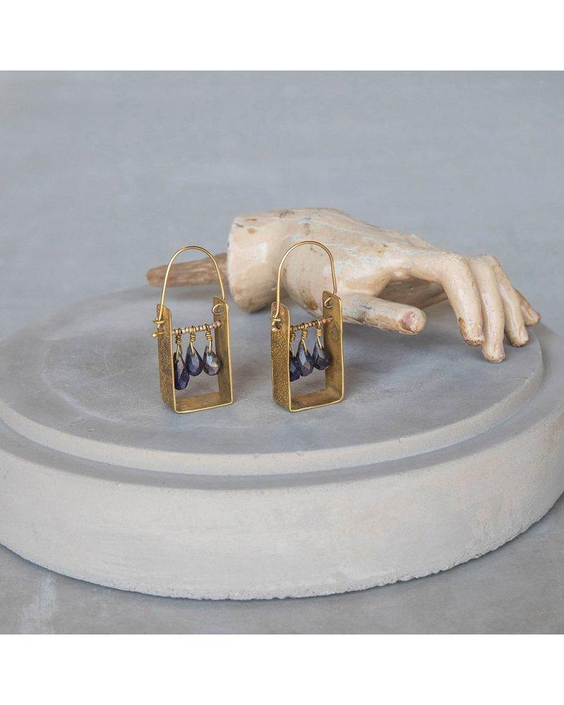 OraTen Boxed Gem Brass Earrings-Iolite