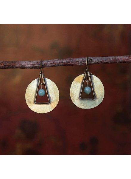 OraTen Unity Circle Brass Earrings-Amazonite