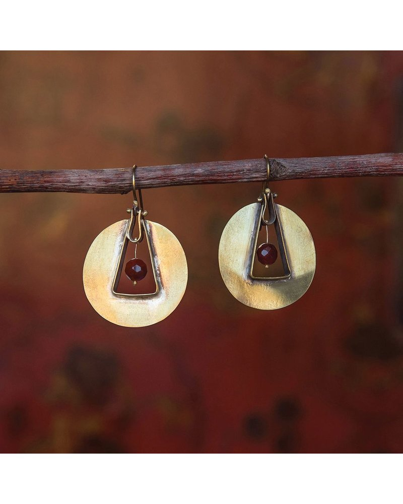 OraTen Unity Circle Brass Earrings-Carnelian