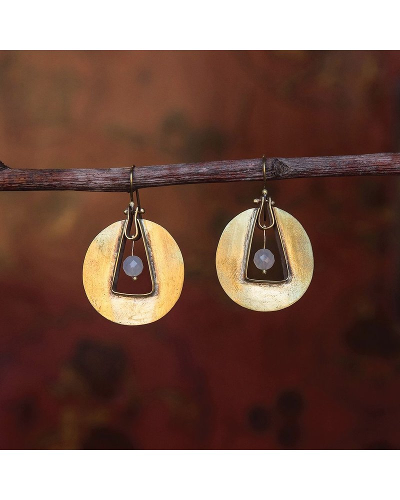 OraTen Unity Circle Brass Earrings-White Onyx