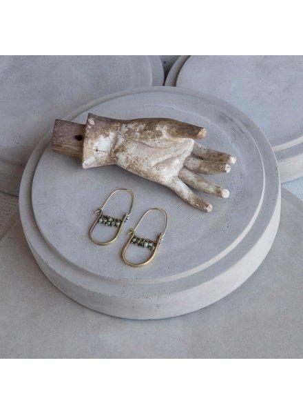 OraTen Brass Drop Earrings-African Turquoise