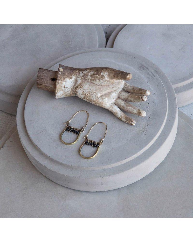 OraTen Brass Drop Earrings-Matte Black Onyx