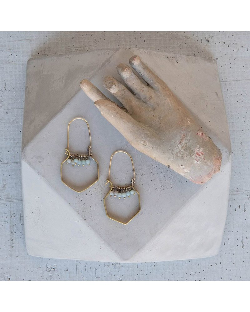 OraTen Hexagon Brass Dangling Gem Earrings-Amazonite