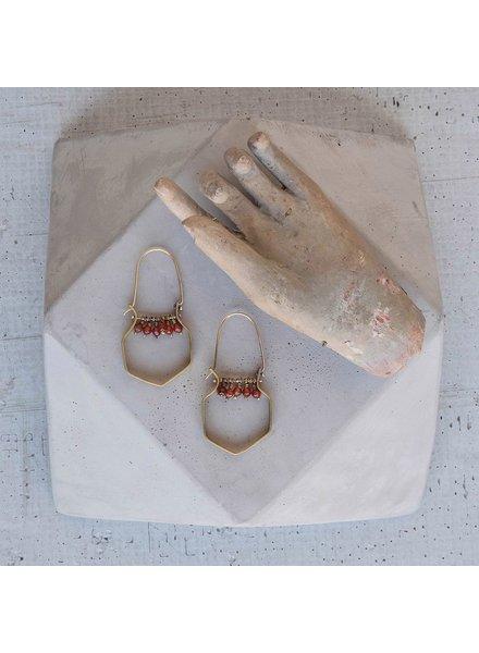 OraTen Hexagon Brass Dangling Gem Earrings-Carnelian