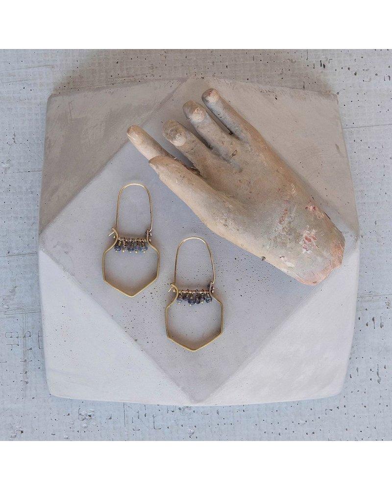 OraTen Hexagon Brass Dangling Gem Earrings-Iolite
