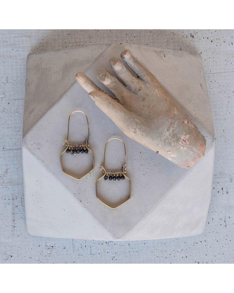 OraTen Hexagon Brass Dangling Gem Earrings-Matte Black Onyx