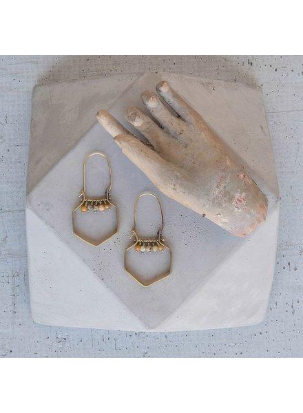 OraTen Hexagon Brass Dangling Gem Earrings-Yellow Moss Agate