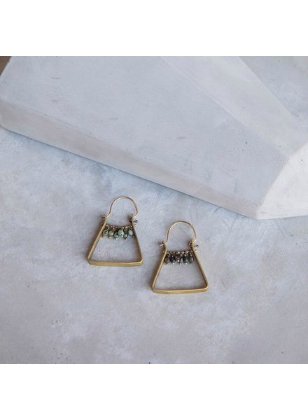 OraTen Triangle Brass Dangling Gem Earrings-African Turquoise