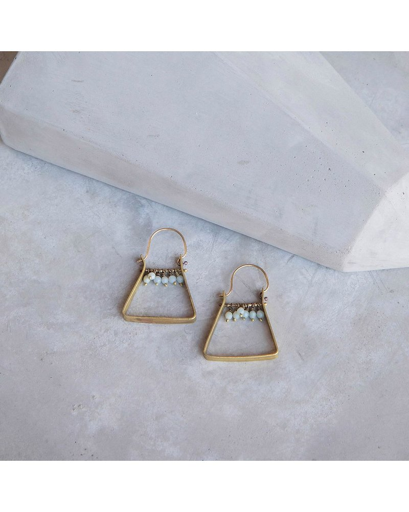 OraTen Triangle Brass Dangling Gem Earrings-Amazonite