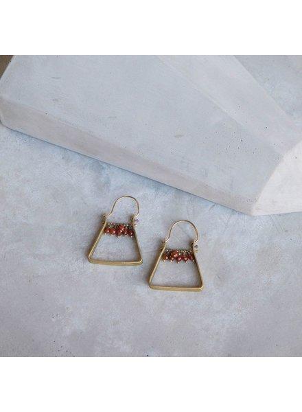 OraTen Triangle Brass Dangling Gem Earrings-Carnelian