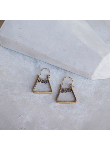OraTen Triangle Brass Dangling Gem Earrings-Iolite