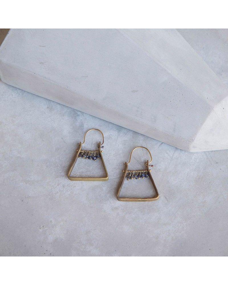 OraTen Triangle Brass Dangling Gem Earrings-Iolite