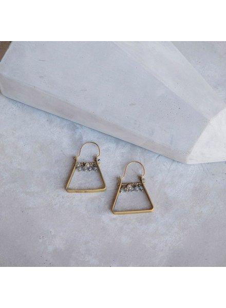 OraTen Triangle Brass Dangling Gem Earrings-Labadorite