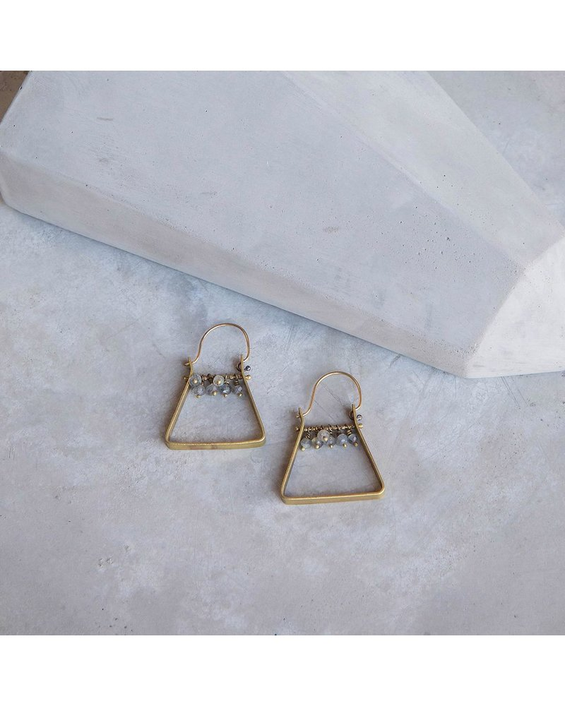 OraTen Triangle Brass Dangling Gem Earrings-Labadorite
