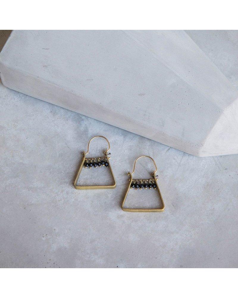 OraTen Triangle Brass Dangling Gem Earrings-Matte Black Onyx