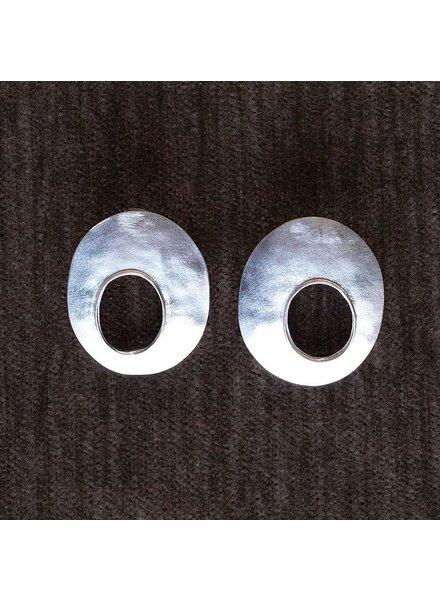 OraTen Oval Void Silver Earrings