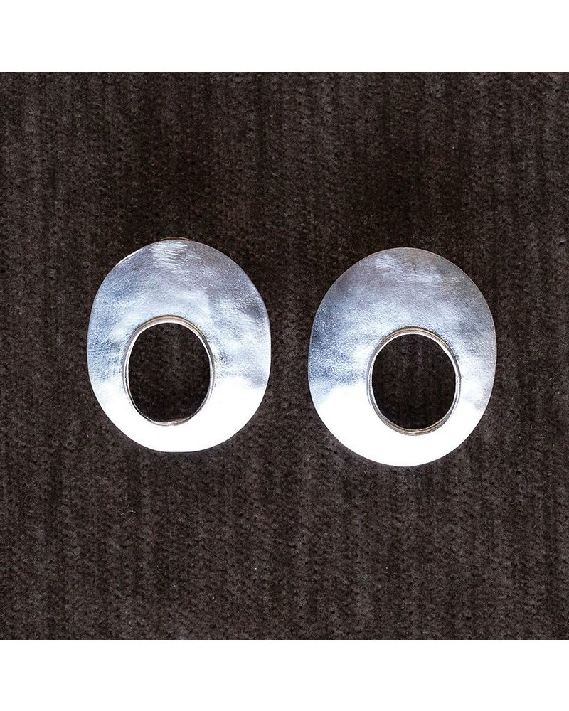 OraTen Oval Void Silver Earrings