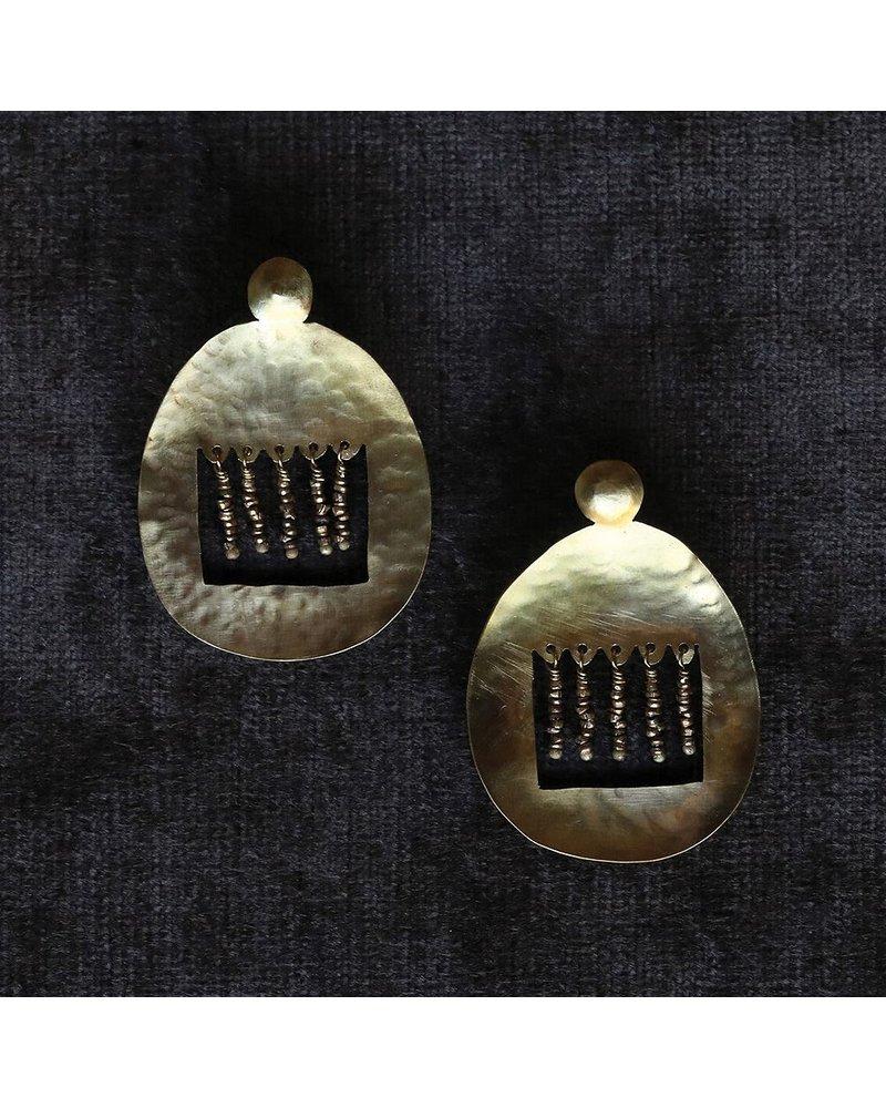 OraTen Picado Brass Earrings, Brass Beads