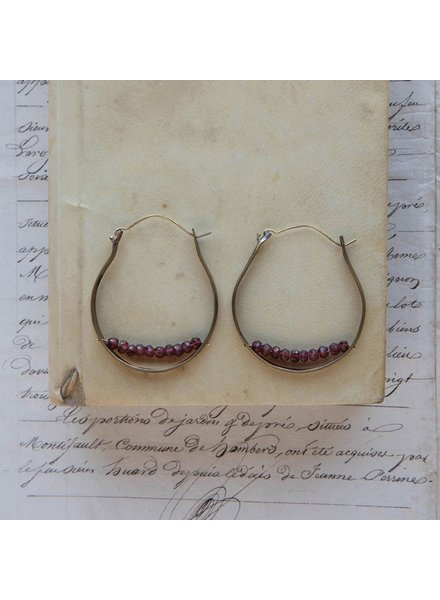 OraTen Low Lying Gem Brass Hoop Earring-Garnet
