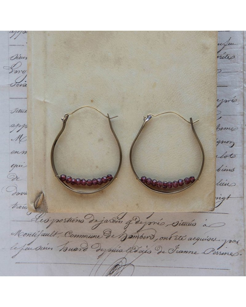 OraTen Low Lying Gem Brass Hoop Earring-Garnet