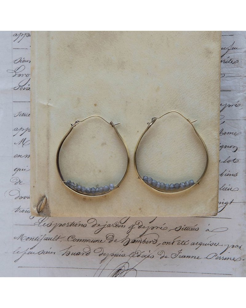 OraTen Low Lying Gem Brass Hoop Earring-Grey Moonstone