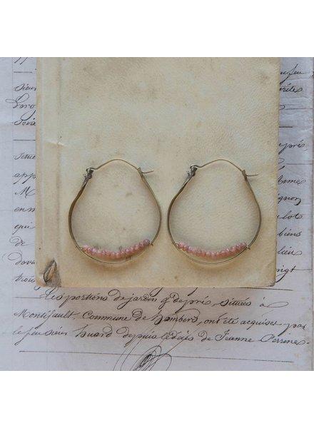 OraTen Low Lying Gem Brass Hoop Earring-Peach Moonstone