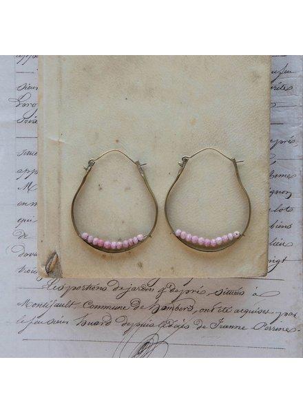 OraTen Low Lying Gem Brass Hoop Earring-Pink Opal
