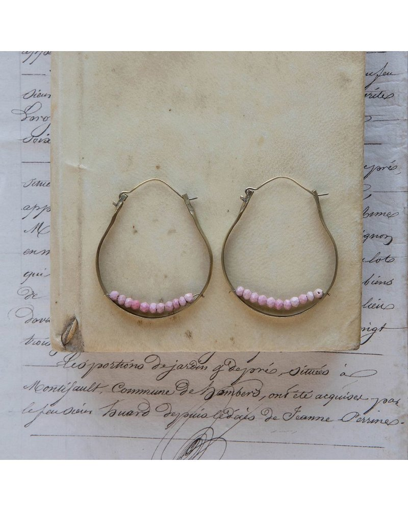 OraTen Low Lying Gem Brass Hoop Earring-Pink Opal