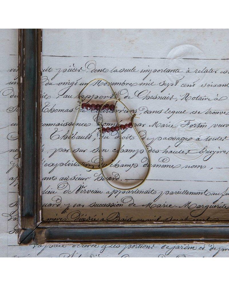OraTen High Strung Gem Brass Hoop Earring-Garnet