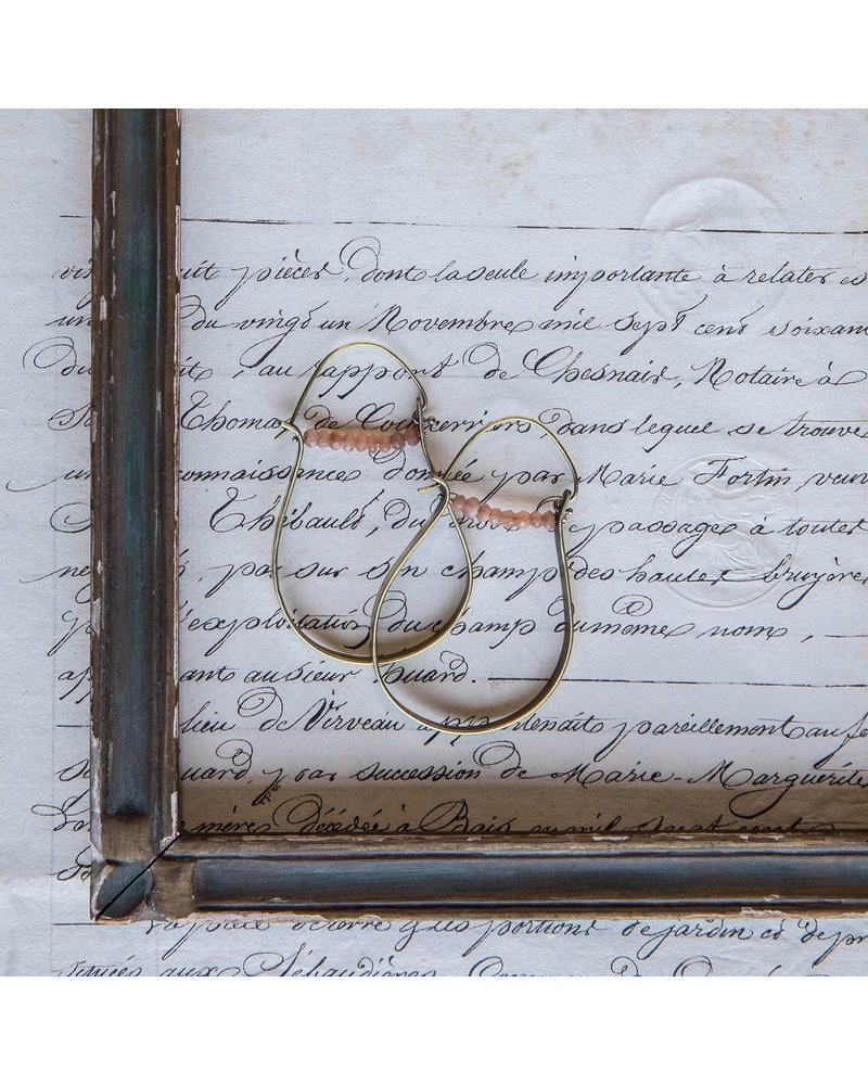 OraTen High Strung Gem Brass Hoop Earring-Peach Moonstone
