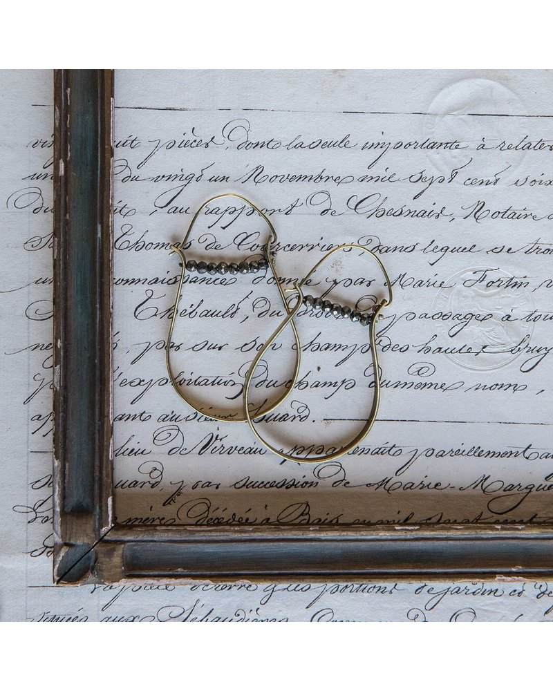 OraTen High Strung Gem Brass Hoop Earring-Pyrite