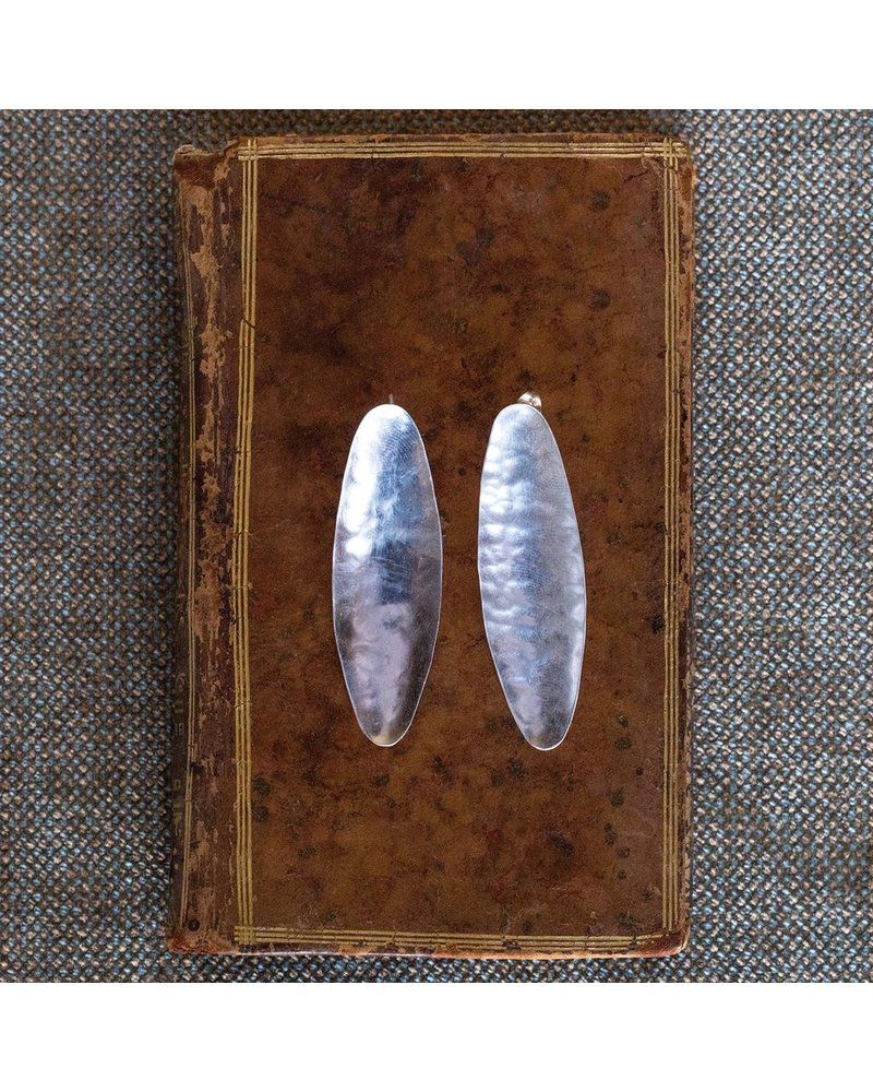 OraTen Pod Silver Earrings, Wide