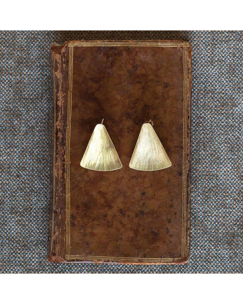 OraTen Gingko Brass Earrings, Wide Leaf