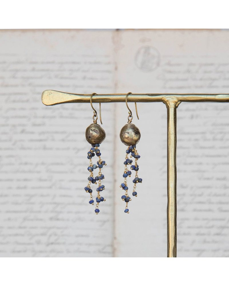 OraTen Dangling Beaded Chain Brass Earrings-Lapis