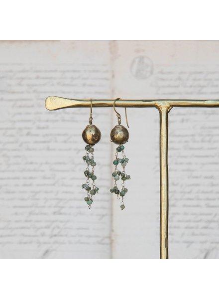 OraTen Dangling Beaded Chain Brass Earrings-Green Chrysophrase