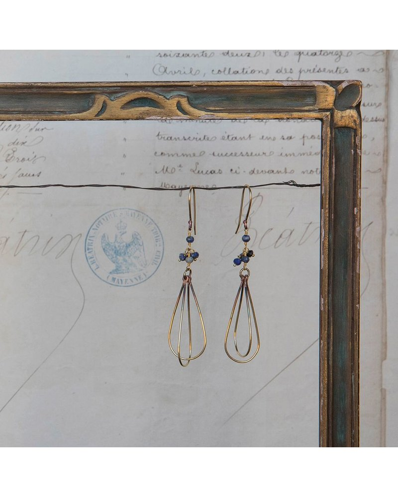 OraTen Dangling Bead Brass Drop Earrings-Lapis