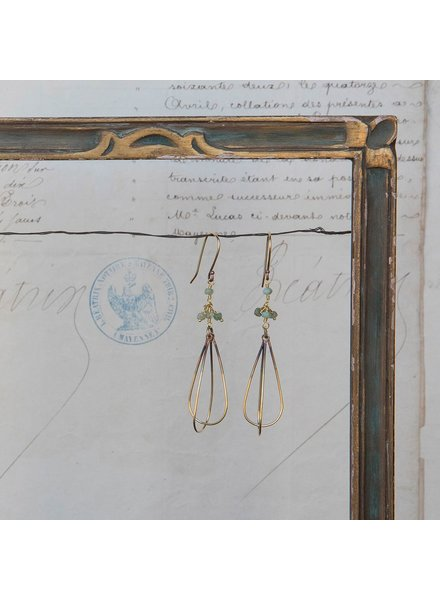 OraTen Dangling Bead Brass Drop Earrings-Green Chrysophrase