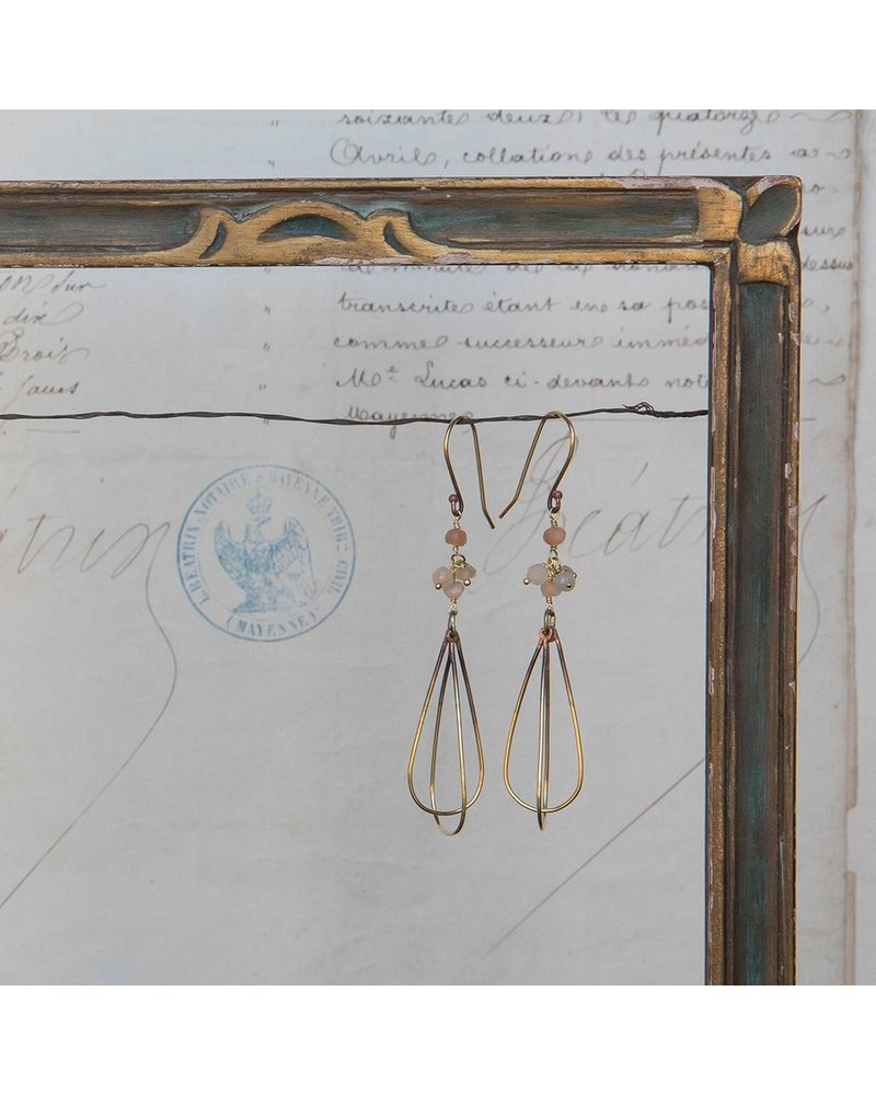 OraTen Dangling Bead Brass Drop Earrings-Peach & Gray Moonstone