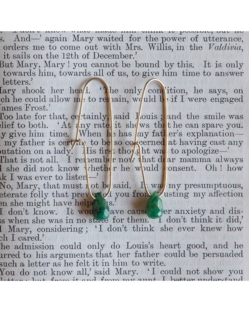 OraTen Oblong Brass Drop Earrings-African Jade Teardrop