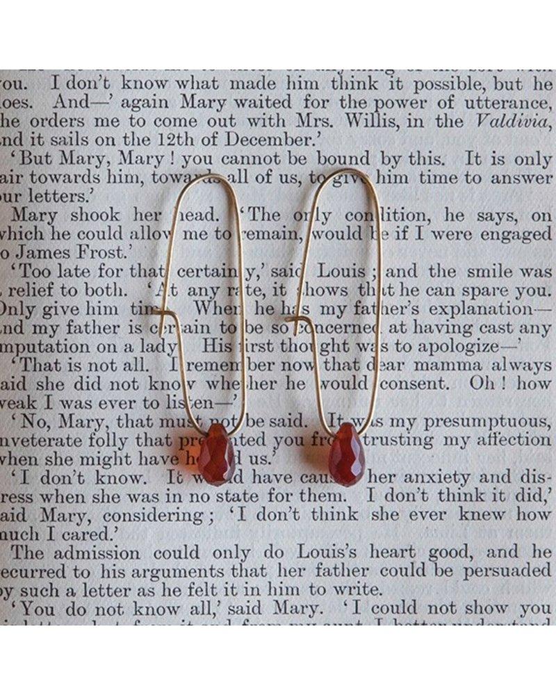 OraTen Oblong Brass Drop Earrings-Carnelian Teardrop
