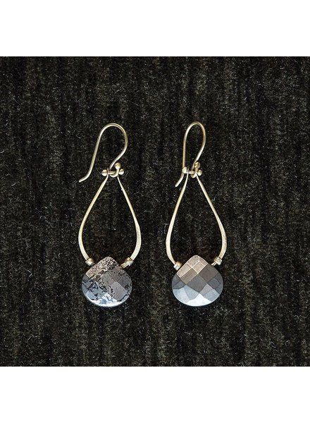 OraTen Double Teardrop Brass Earrings-Pyrite