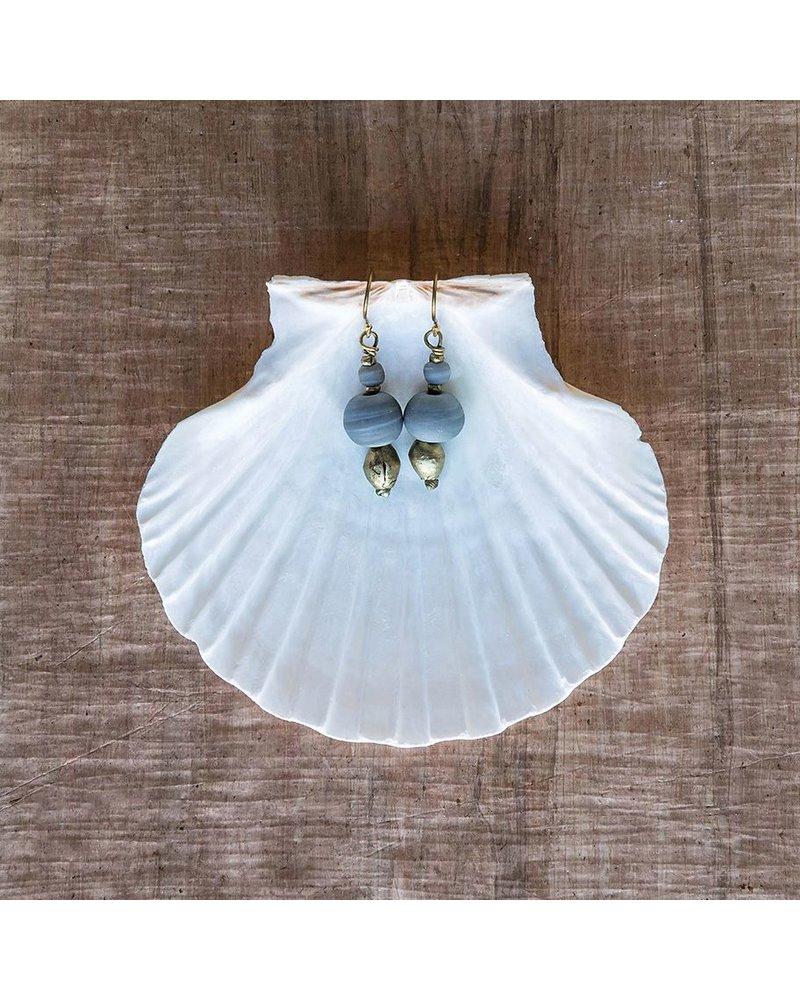 OraTen Duo Bead Brass Earrings-Soft Blue
