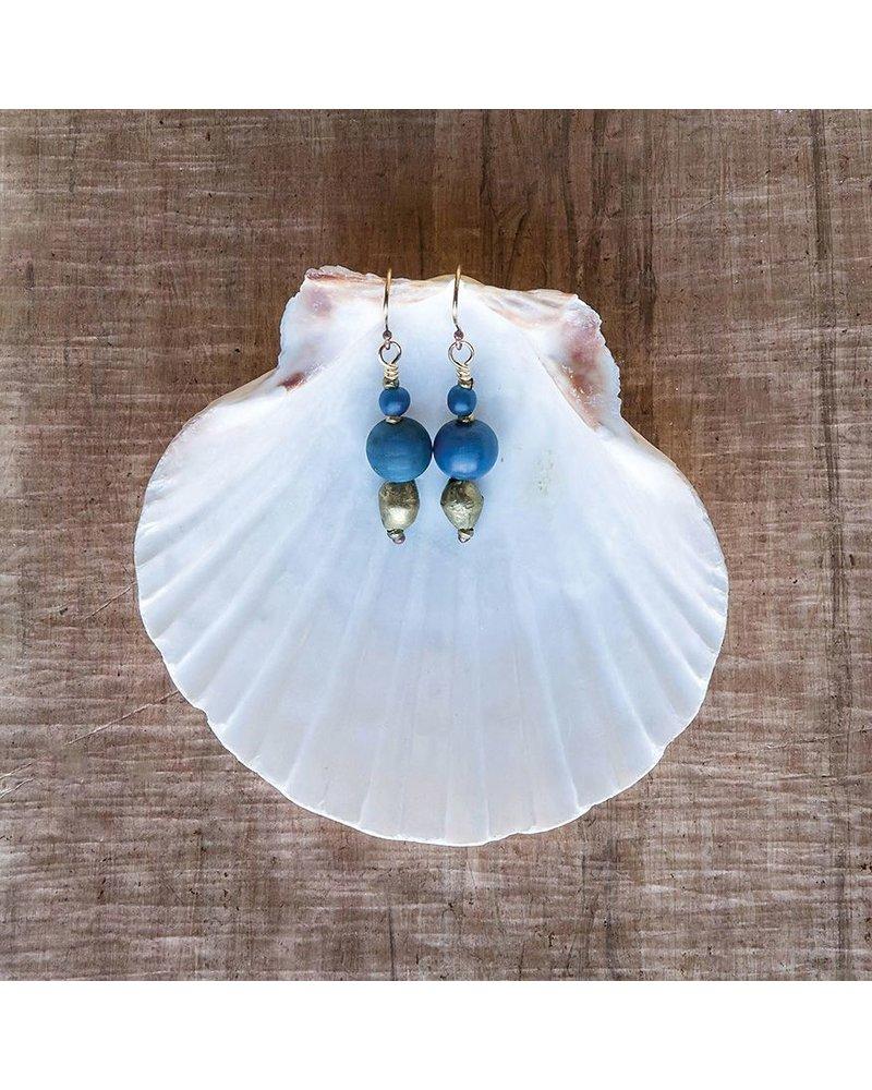 OraTen Duo Bead Brass Earrings-Navy