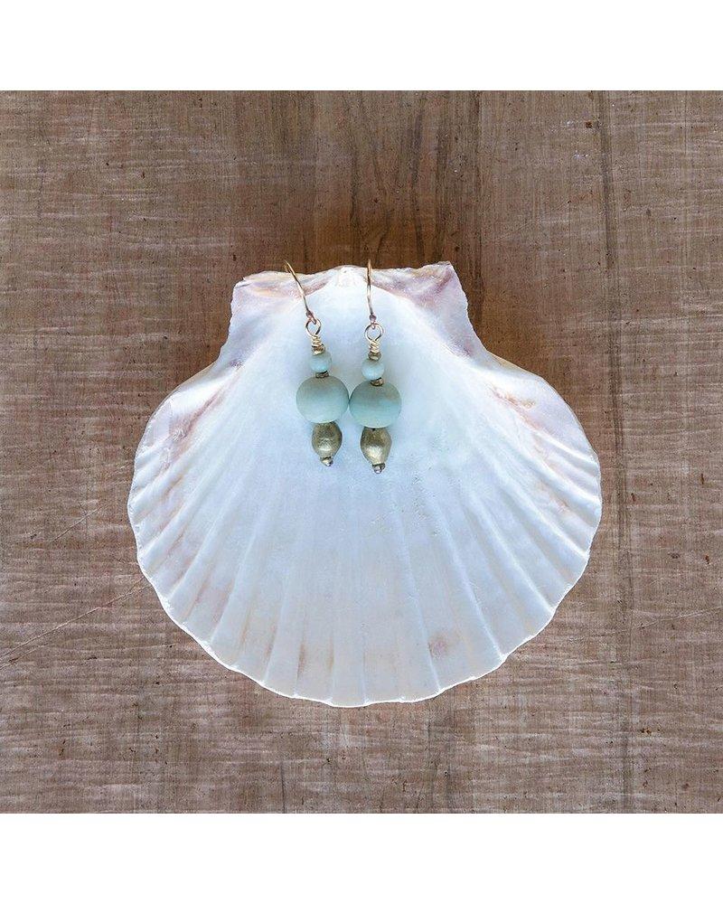 OraTen Duo Bead Brass Earrings-Aqua