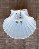 OraTen Duo Bead Brass Earrings-White