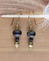 OraTen Duo Bead Brass Earrings-Horn