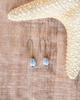 OraTen Single Bead Brass Earrings-Blue Melon