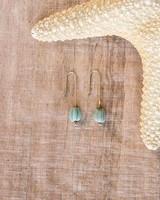 OraTen Single Bead Brass Earrings-Green Melon